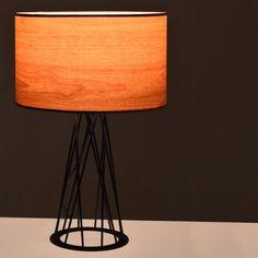 Επιτραπέζια λάμπα σε μαύρο μέταλλο και καπέλο σε απομίμηση του ξύλου. Tripod Lamp, Lighting, Home Decor, Decoration Home, Room Decor, Lights, Home Interior Design, Lightning, Home Decoration