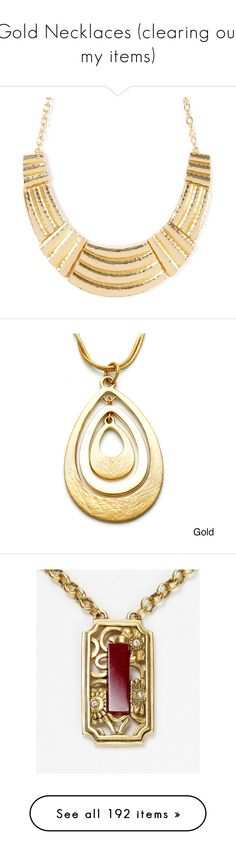 """""""Gold Necklaces (clearing out my items)"""" by googie-googie ❤ liked on Polyvore featuring jewelry, necklaces, accessories, collares, украшения, metal jewelry, metal collar necklace, polish jewelry, collar necklace and metal bib necklace"""