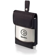 The Pittsburgh Steelers Laser Engraved Golf Flask with carry case.