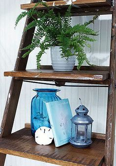 24 Living Room DIYs: Create a leaning display shelf out of an old ladder.