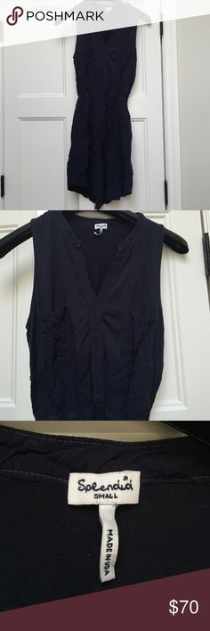 """Splendid synched waist navy v neck dress Made in the USA by Splendid. The perfect summer dress in navy blue. Lightly worn, extremely comfortable material. Length from shoulders is about 33"""" Splendid Dresses Mini"""