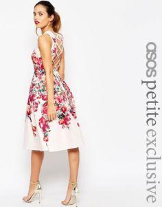 ASOS PETITE Vintage Floral Lace Up Open Back Bardot Midi Prom Dress UK 10 - US 6