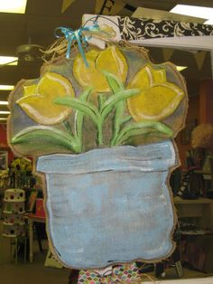 Burlap Door Hanger Flowers by Burlapulous on Etsy, $32.00
