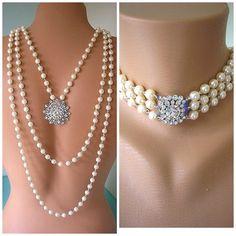 Backdrop Necklace Wedding Jewelry Bridal by CrystalPearlJewelry, $152.00