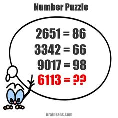 Brain teaser - Number And Math Puzzle - number puzzle - This brain teaser with numbers is going to test your math skills. Find the hidden pattern, play with numbers and get the correct result. Which number is the result of 6113 provided everything above i Best Brain Teasers, Brain Teasers Riddles, Number Puzzles, Maths Puzzles, Logic Math, Math Genius, Reading For Beginners, Math Talk, Math Challenge