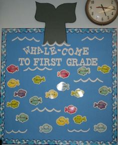 first grade bulletin boards | Whale-Come To First Grade Bulletin Board