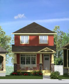 Wonderfully efficient narrow-lot home! Change roof style to add third floor. Micro House Plans, House Plans 2 Storey, Narrow Lot House Plans, Two Story House Plans, Modern House Plans, Modern Houses, Craftsman Cottage, Craftsman Style House Plans, Craftsman Bungalows