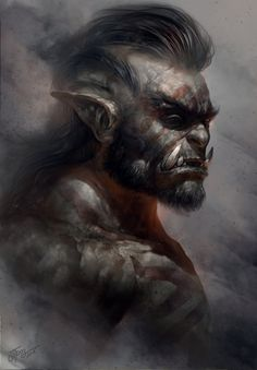 Veteran by TamplierPainter, Digital Painting Portrait, Orc, rpg, dnd, inspirational Art