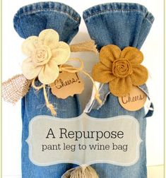 ❤+Repurposed+pant+legs+to+wine+bags+❤Mindy+-++craft+idea+&+DIY+tutorial+collection