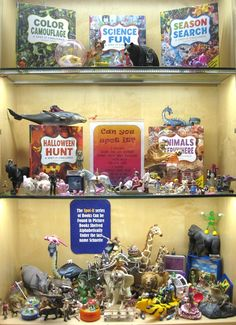 Spot It Challenge! | Library Book Display, very clever use of books.