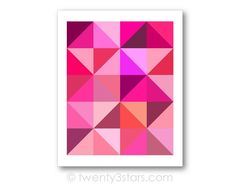 Pink Triangles Geometric Art | Hot Pink & Fuscia | twenty3stars. Pink girly lipstick shade art, available in all colors at twenty3stars.com