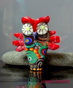 °° TOTEM OWL °° lampwork focal bead by jasmin french