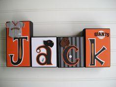 San Francisco Giants Letter Blocks. Sports Name blocks. Baseball.. $10.00, via Etsy. For the boys room