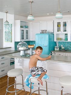 Turquoise Backsplash, Refrigerator, Pendant Lights. Absolutely Beautiful Kitchen!