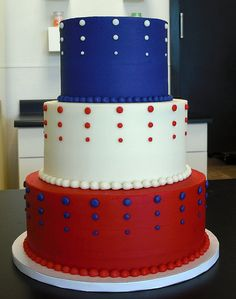 ~ 3 Layered Red, White & Blue Cake ~ Just add some Flags on the top & Wala....