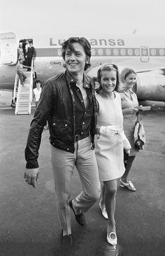 deshistoiresdemode: Happy birthday Monsieur ! Romy & Alain, Nice airport, August 1968.