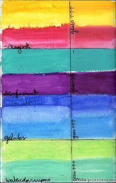 Ronda Palazzari art journal gesso  Shows gesso vs plain paper surface for different looks