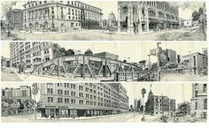 It's actually four separate panos end to end in one large Japanese Album Moleskine, all of which I drew on site in downtown San Antonio. The first is a 180 degree sketch of Houston Street just north of Alamo Plaza. The second 180 degree pano is of Navarro Street and the Nix Hospital. The third is on Commerce Street and features the Aztec Theater. The fourth pano is only 90 degrees (I ran out of room) and was done in front of the old San Antonio Courthouse. They are all stitched together by…