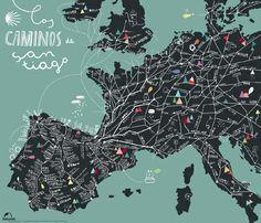 Cinta Arribas - Illustrated map of the Caminos de Santiago de Compostela #illustration #map #europe