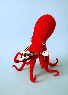 Red Octopus & His White Guitar by hine