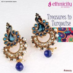 Turquoise jewellery catches our eyes like no other colour. Like if you can't take your eyes off of this #ethnic Peacock earring! #ethnicity #indifresh #earring #fashion #style