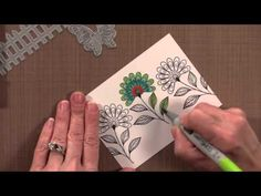 Use Zig Clean Color Brush Markers and embossing to Watercolor a background in this card making video! You can also us other watercolor markers and paints to . Stamp Tv, Brush Markers, Arts And Crafts, Paper Crafts, Copics, Card Tags, Craft Videos, Card Making, Greeting Cards