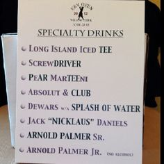Golf Tips Drink menu at the bar with golf-themed beverages Golf Party, 50th Party, Thema Golf, Golf Wedding, Wedding Favors, Party Favors, Wedding Ideas, Masters Golf, Golf Outing