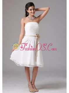 White Strapless Sash Ruched Cheap Dama Dress