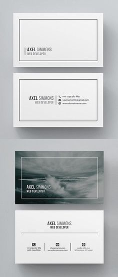 Simple, clean and minimal business card templates ideal for personal identity or minimalist design business. The super clean business card designs have been Font Design, Name Card Design, Identity Design, Layout Design, Design Cars, Graphic Design, Design Ideas, Brand Identity, Cleaning Business Cards