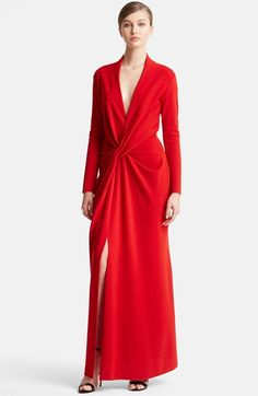 Lanvin Deep V-Neck Wool Jersey Gown available at #Nordstrom