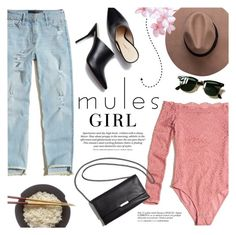 """""""A Mules Kind of Girl"""" by alexandrazeres ❤ liked on Polyvore featuring Hollister Co., Loeffler Randall, Ray-Ban, H&M, trend and mules"""