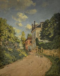 Giclee Print: View of the Rue De Moubuisson, Louveciennes, 1874 by Alfred Sisley : Monet, American Impressionism, Post Impressionism, Renoir, Cityscape Art, Impressionist Landscape, Cool Art, Fun Art, Giclee Print