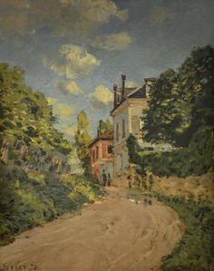 Alfred Sisley - Blick in die Rue de Monbuisson in Louvenciennes, 1874 at Staatliche Kunsthalle Karlsruhe Germany
