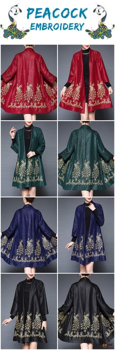US$32.99 + Free shipping. Size: L~3XL. Color: Black, Green, Navy, Red. Fall in love with casual and vintage style! Plus Size Elegant Women Peacock Embroidery Cardigans. #cardigan #coat #outfit #peacock
