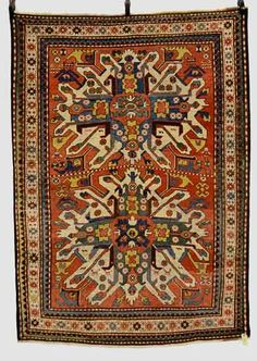 Lot 483, a Chelaberd rug, Karabakh, south west Caucasus, late 19th century, 6ft. 5in. x 4ft. 8in. 1.96m. x 1.42m. Carpets, Rugs & Textiles at Netherhampton Salerooms 1 October 2014