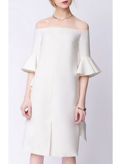 SLVIA Flounced Sleeves Off-Shoulder Dress @ shopjessicabuurman.com
