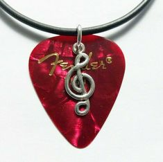 """Red Fender guitar pick necklace silver musical note charm and size 17"""" to 19""""  #12345market #Charm Guitar Pick Necklace, Silver Necklaces, Musicals, Notes, Charmed, Pendant Necklace, Red, Ebay, Jewelry"""