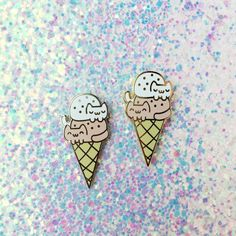 Double Cat Ice Cream Ball Cone enamel lapel pin