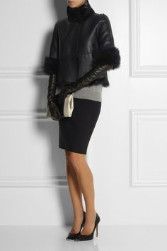 Tory Burch ~ Leather short jacket  with shearling collar & 3/4 sleeves with fold back shearling cuffs, reversible to all shearling ~ Love!