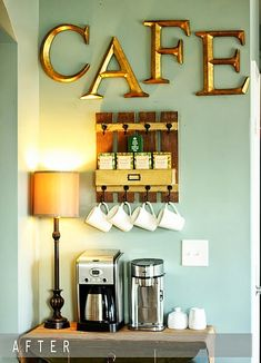 Create a DIY Coffee Bar in your home. Inspired by coffee shops, this DIY coffee bar is the perfect addition to any coffee lover's home. Click through to see how to build it plus, free plans to build your own just like this one! Kitchen Corner, House Design, Interior, Coffee Bar Home, Home Decor, Home Coffee Stations, Youth Room, Home Kitchens, Home Diy