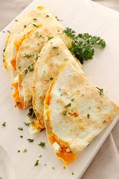 Carmelized Peach and Brie Quesadilla with Honey