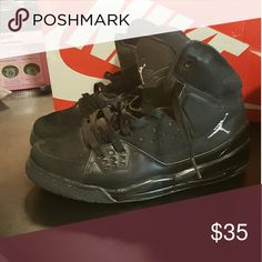 Jordan Nike Mens size 8 Black Black nike jordan.  I wore a womans 10 and I wore these.  In fair used condition.  I will clean them up a little more b4 sending. Nike Shoes Athletic Shoes