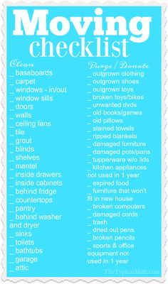 This printable moving checklist is a huge help when you need to clean and purge your old house! Plus moving tips and tricks to make your transition easier. AD via The Typical Mom * Instant Pot Recipes * Ninja Foodi Recipes Moving Cleaning Checklist, Move Out Cleaning, House Cleaning Tips, Spring Cleaning, Cleaning Hacks, Moving Checklist Printable, Moving House Checklist, Cleaning Schedules, First Home Checklist