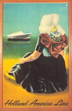 Poster Holland America Line, Images courtesy Holland America Line. Holland America Alaska Cruise, Holland America Line, Travel Ads, Cruise Travel, Vintage Ephemera, Vintage Art, Old Poster, Advertising Poster, Letter Art