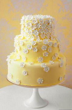 Sunshine Yellow Wedding Cake, with White Sugar Flower Embellishment.