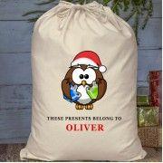 Christmas Personalised Penguin Cotton Santa Sack or Present Bag Santa Sack, Sacks, Penguin, Christmas Gifts, Stockings, Presents, Cotton, Xmas Gifts, Socks