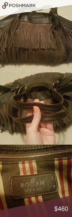 SALE* Authentic Italian Hogan fringe purse. The infamous fringed Hogan. Made from luxurious Italian Leather. Serial stamped, great pre-loved condition. Originally retailed for 995.00 in 2009. No damage. No rips tears stains or even wear. Like new....soft buttery feel. Waterproofed. This is a treasure, stylish, and a steal! Hogan Bags Shoulder Bags