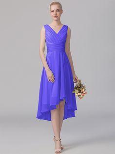 Pin to Win a Wedding Gown or 5 Bridesmaid Dresses! Simply pin your favorite dresses on www.forherandforhim.com to join the contest! | V-neck High-low Dress $149.99