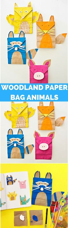 Paper Bag Woodland Animal Craft // fun idea for a rainy day! Animal Activities For Kids, Animal Crafts For Kids, Crafts For Boys, Craft Projects For Kids, Craft Activities, Animals For Kids, Preschool Crafts, Art For Kids, Toddler Crafts