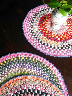 Yarn crochet with fabric strips woven through - circle mats